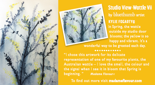 Wattle Art by Kylie Fogarty Madame Flavour Australian Afternoon Grey Tea