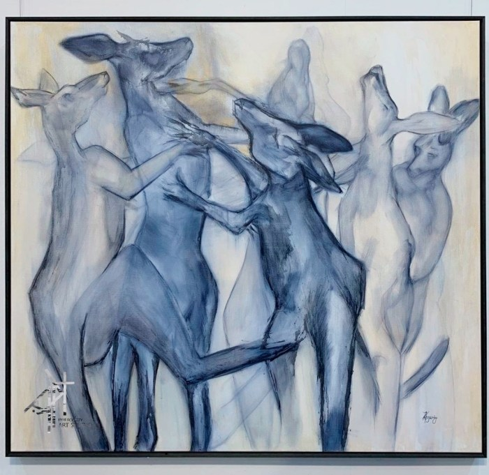 The Scrap by Australian Artist Kylie Fogarty, Boxing Kangaroos fighting, Ink drawing on stretched linen canvas.