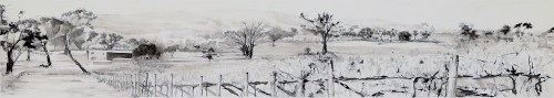 Barton Estate Vista, Pigemented Ink drawing by Kylie Fogarty