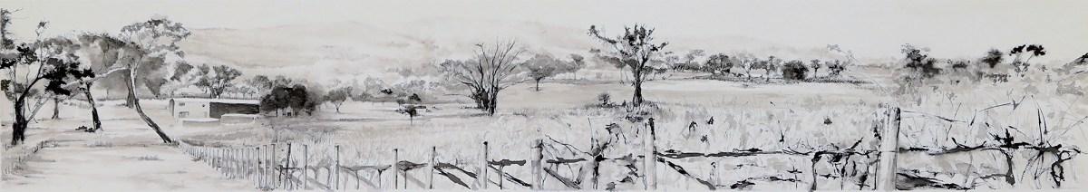 Barton Estate Vista, Pigmented Ink drawing by Kylie Fogarty, Australian Artist