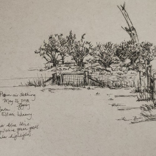 Plein Air Sketching at Barton Estate 2018 by Kylie Fogarty