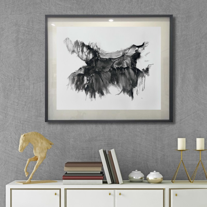 Twilight Adventures, Drawing by Kylie Fogarty, Insitu Living Room, gold, white, black, 2021