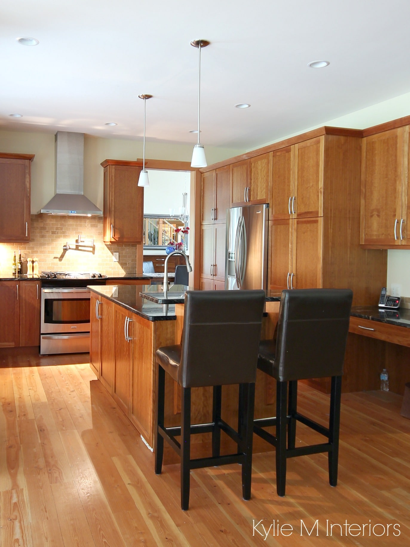 Kitchen, natural cherry cabinets, fir flooring, island ... on Maple Kitchen Cabinets With Black Granite Countertops  id=64835