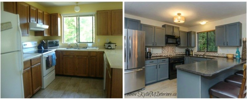 Budget Friendly Kitchen Makeover: Painted And Distressed Cabinets (Oak To Gray