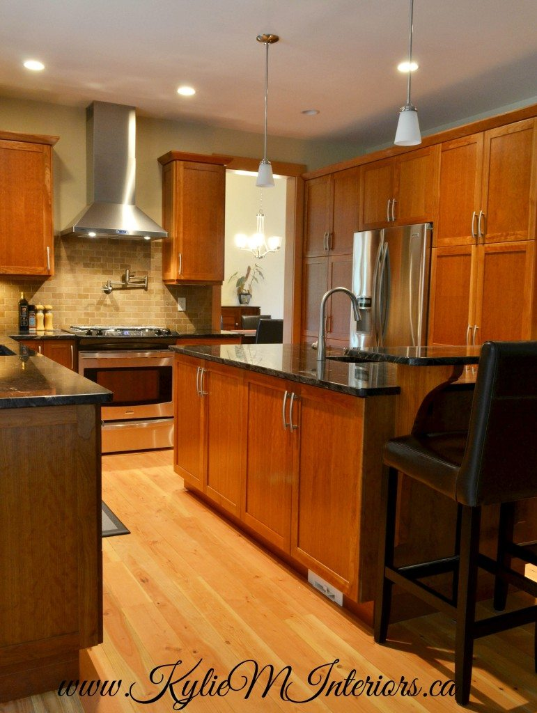 natural stained fir floors in kitchen with stained cherry ... on Maple Kitchen Cabinets With Dark Wood Floors Dark Countertops  id=43347