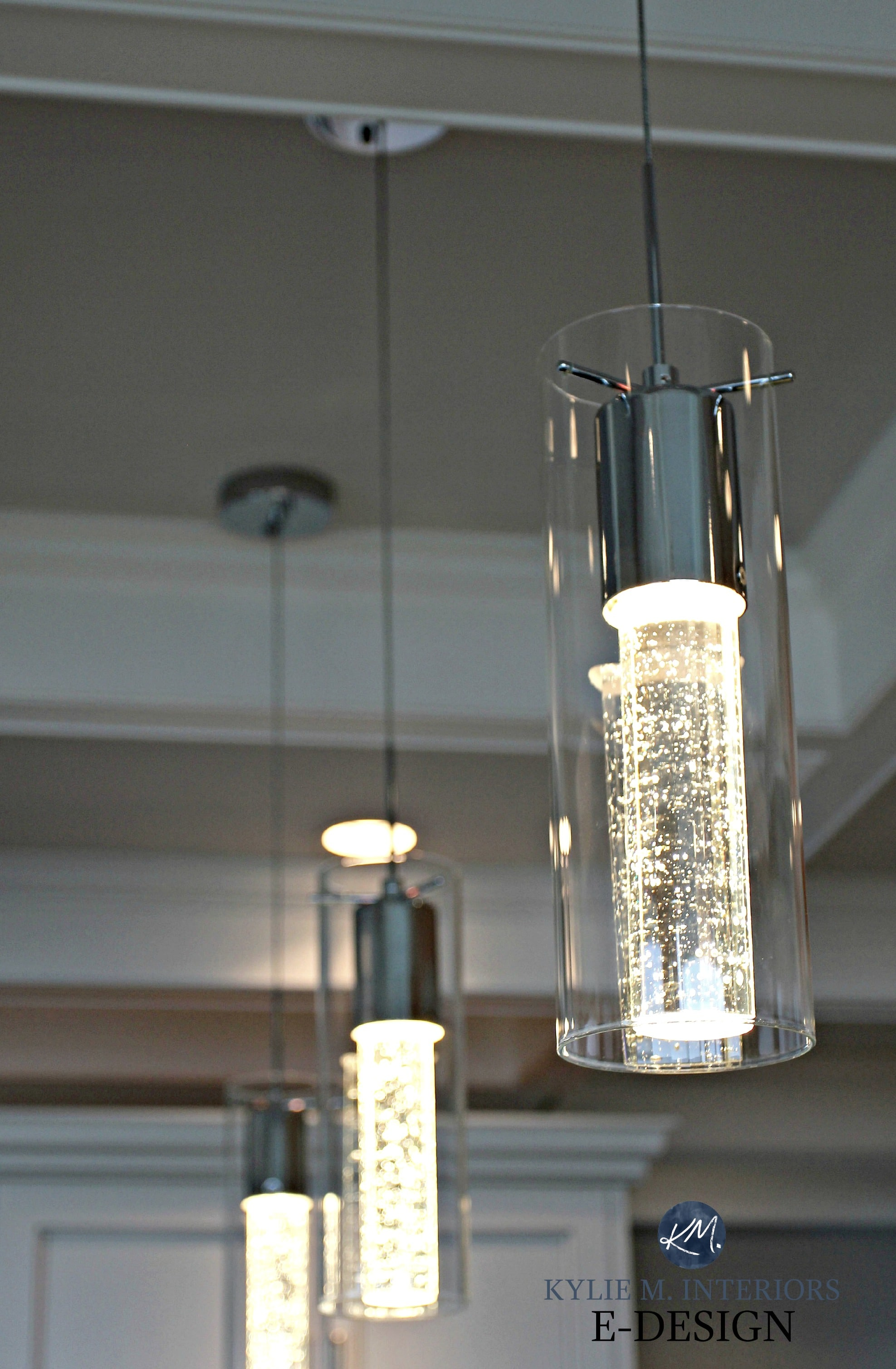 Champagne Glass Style Pendant Lights Over Island Kylie M