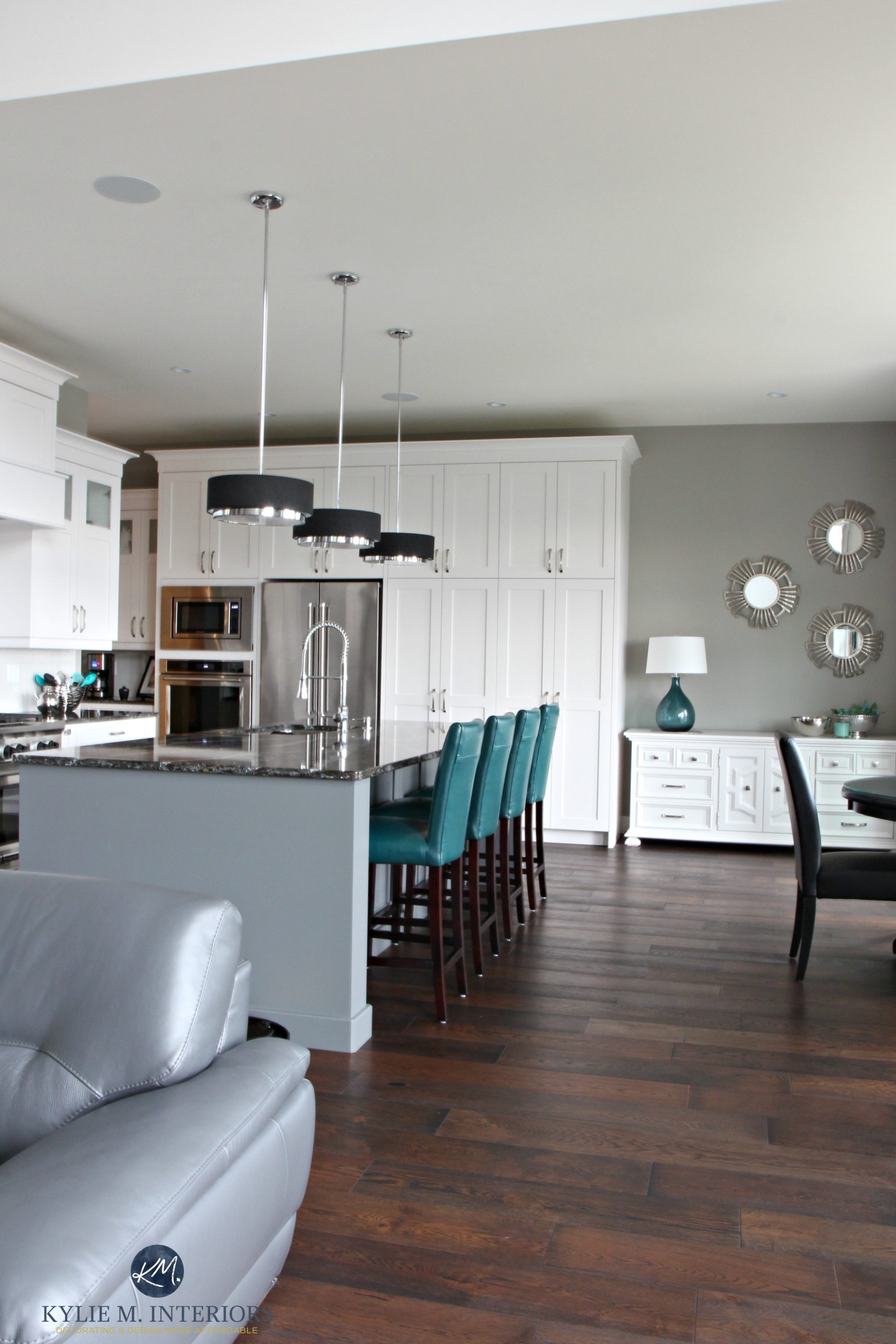 open layout white kitch with gray painted island teal on paint colors online id=43280