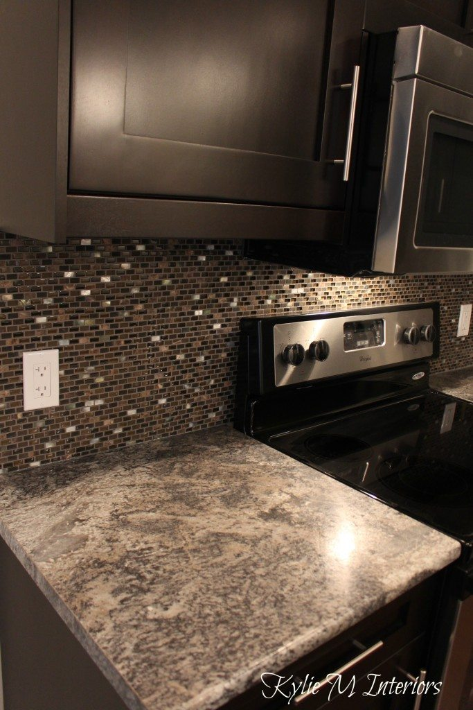 harold pionite laminate countertop, brown mosaic tile ... on Backsplash Ideas For Dark Cabinets And Dark Countertops  id=40697