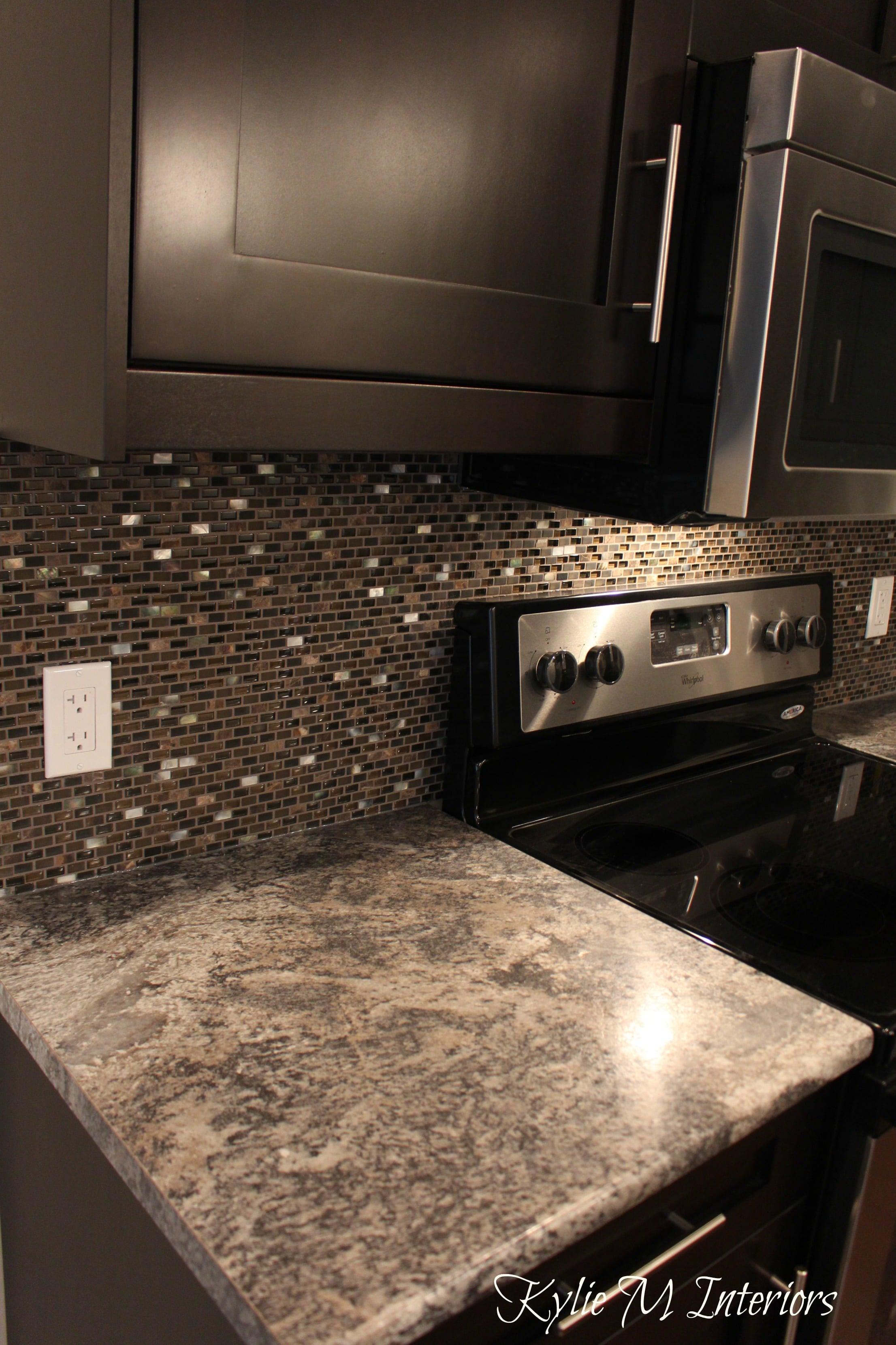 harold pionite laminate countertop, brown mosaic tile ... on Backsplash For Dark Countertops  id=38732