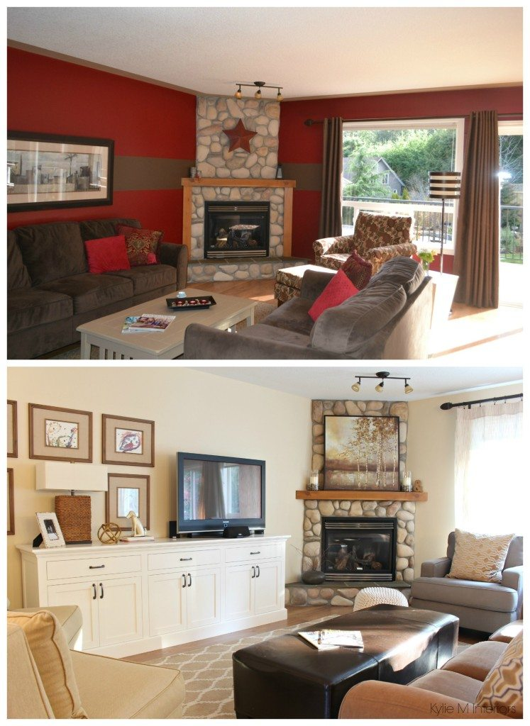 Living Room Before And After With Stone Corner Fireplace