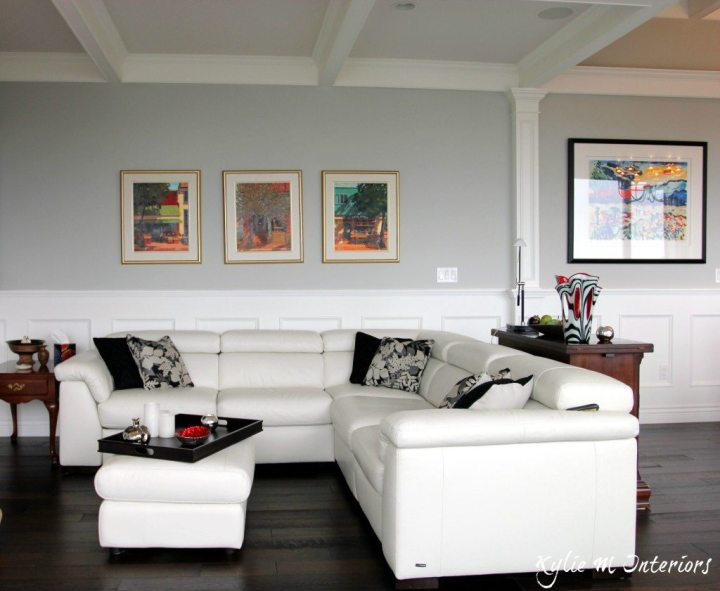 Best Benjamin Moore Gray Paint Color Stonington Shown With White Leather Sectional Dark Wood