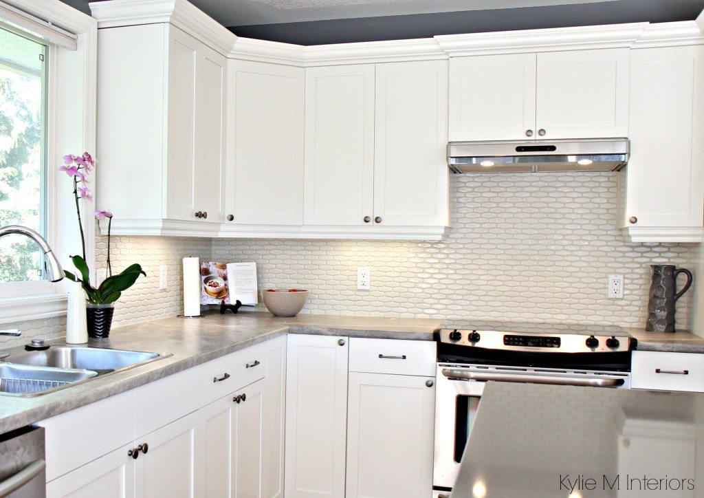 Maple cabinets painted Cloud White, Gray paint colour ... on What Color Backsplash With Maple Cabinets  id=72314