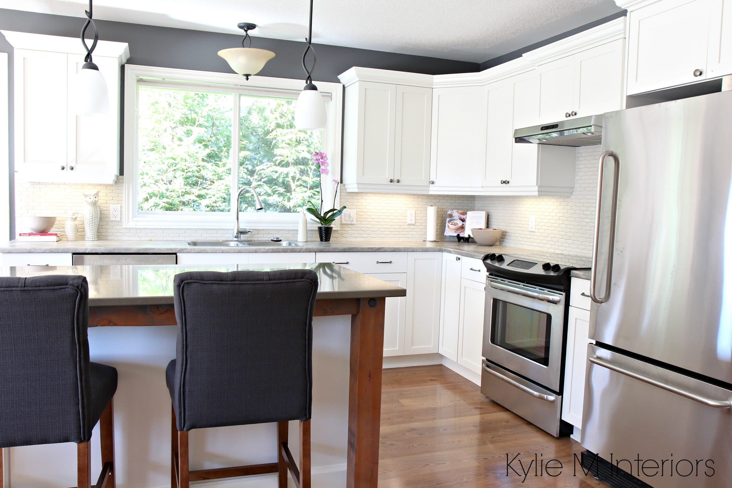 Maple kitchen cabinets painted Cloud White in a makeover ... on Maple Kitchen Cabinets With Quartz Countertops  id=32567