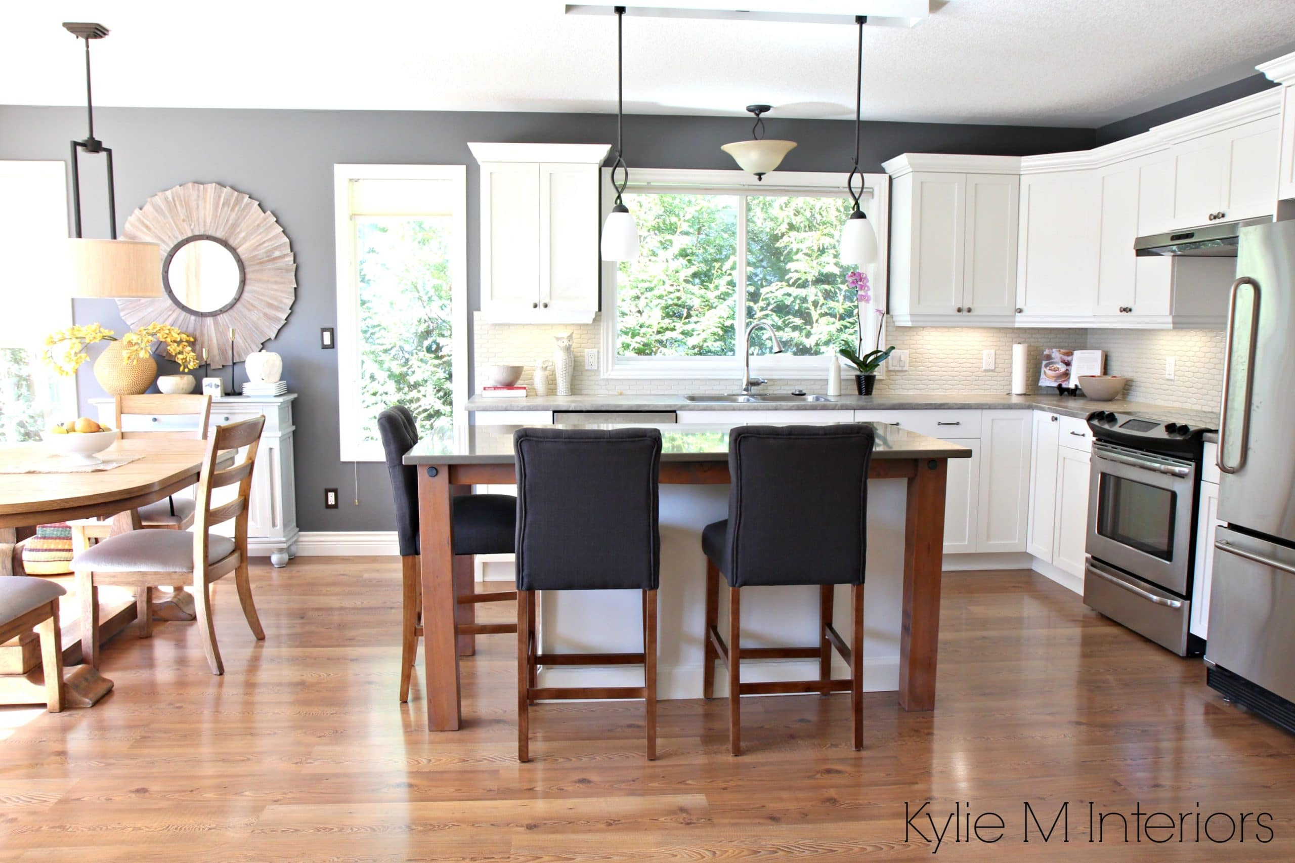 Open layout kitchen and dining, subtle country farmhouse ... on Maple Cabinets Kitchen  id=20661