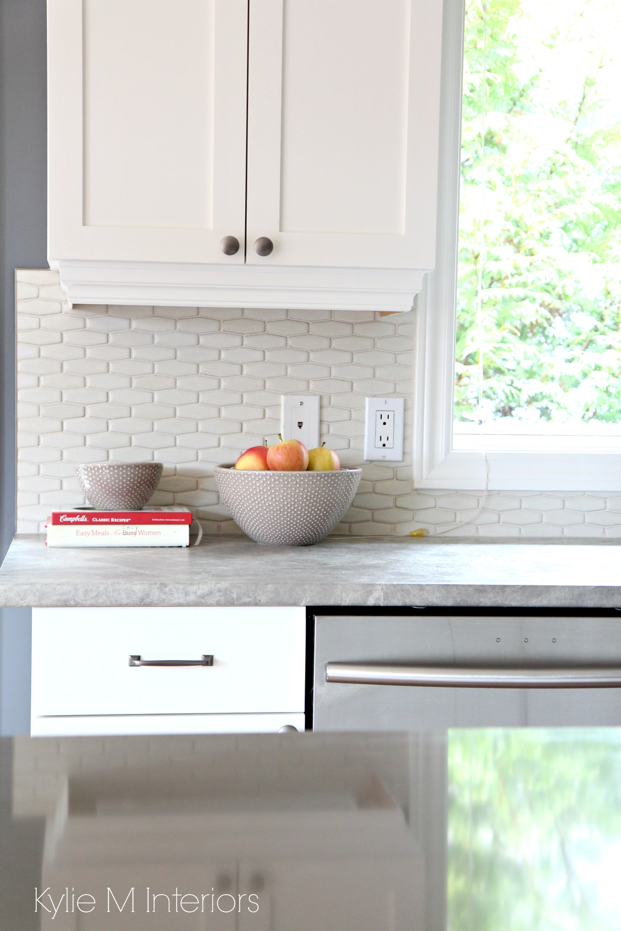 Shaker maple cabinets painted Cloud White with gray and ... on Gray Countertops With Maple Cabinets  id=71714