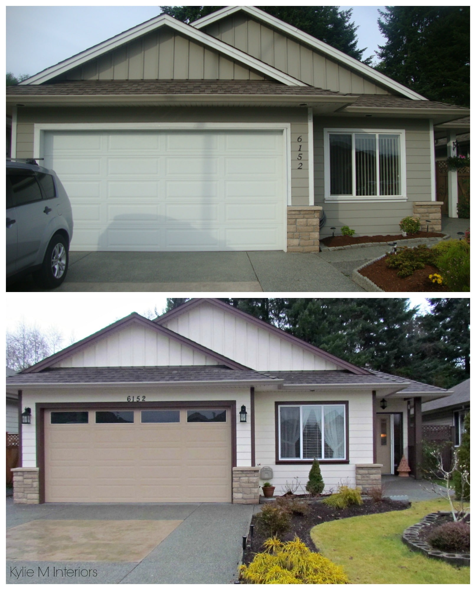 Before and after exterior color palette on a small ranch ... on Garage Door Color Ideas  id=36595