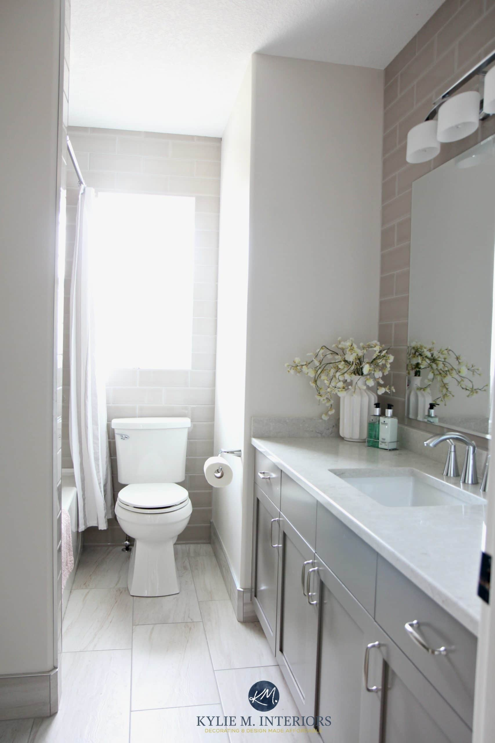 Greige And Gray Bathroom Update With Bianco Drift Quartz Metropolis Vanity Classic Gray And