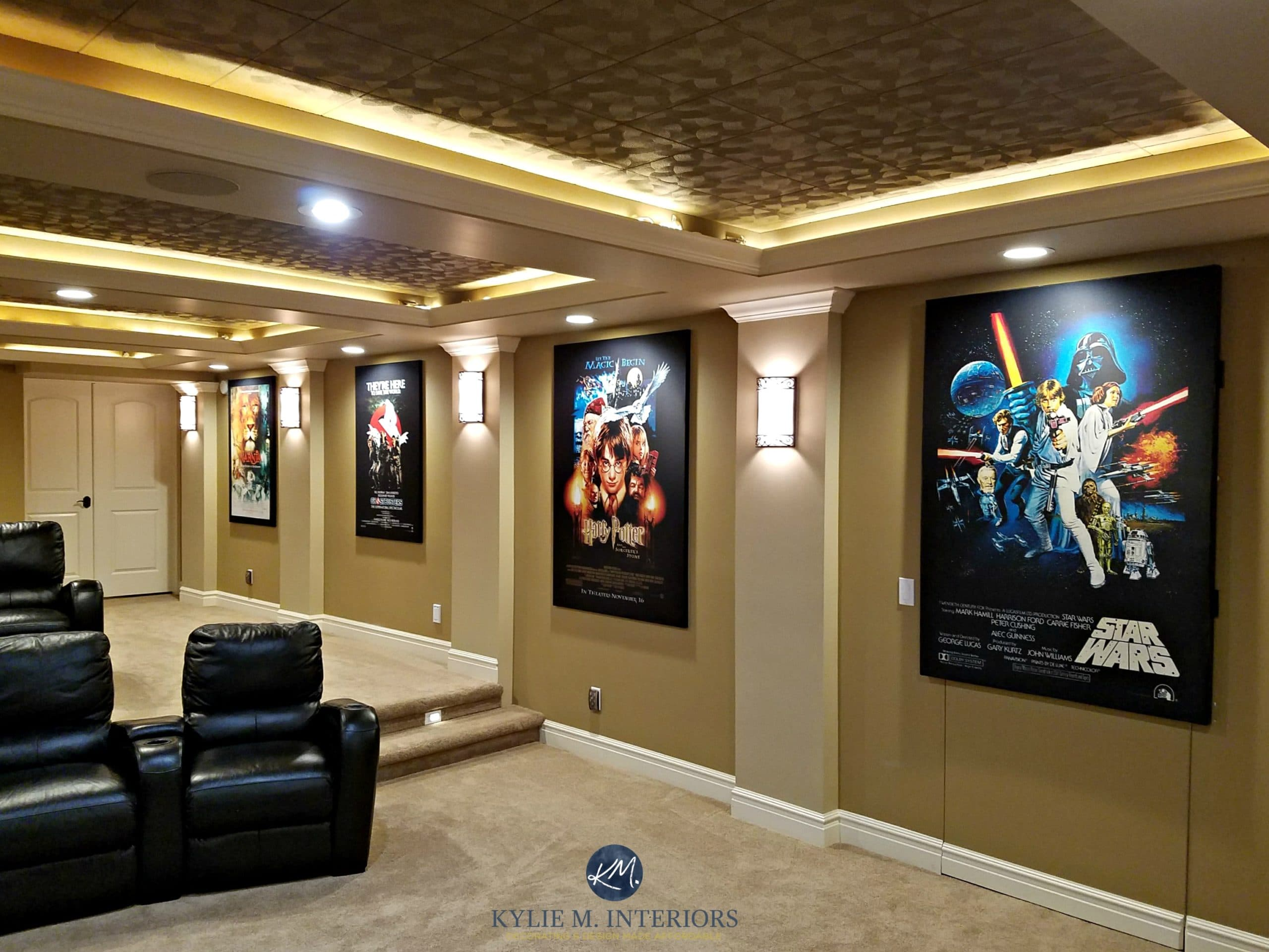 Best Kitchen Gallery: Home Theatre Room With Textured Acoustic Tile Ceiling Movie Posters of Home Theater Room Carpet on rachelxblog.com
