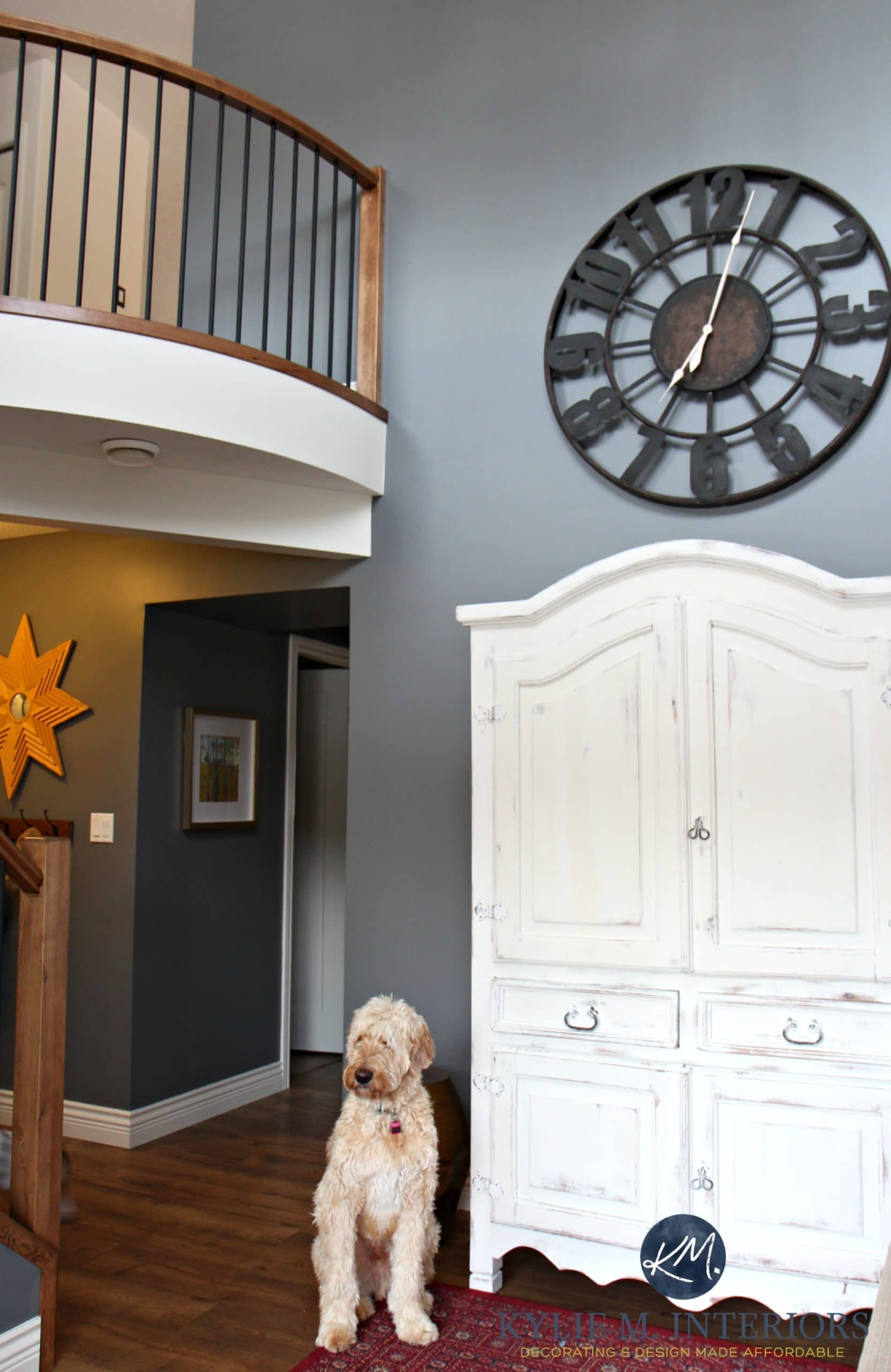 2 Storey Entryway Foyer Stair With Curved Railing Golden Doodle Wood And Metal Railing Benjamin Moore Steel Wool Feature Or Accent Wall By Kylie M Interiors