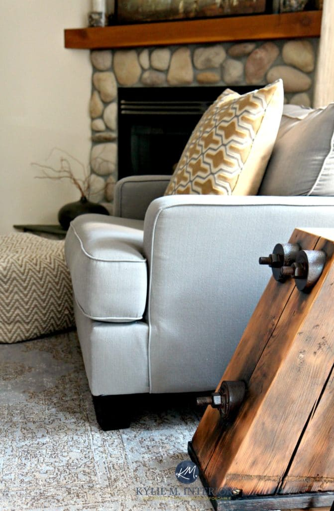Benjamin Moore Gentle Cream Urban Barn Gray Toned Rug And Accent Chair Riverstone Fireplace