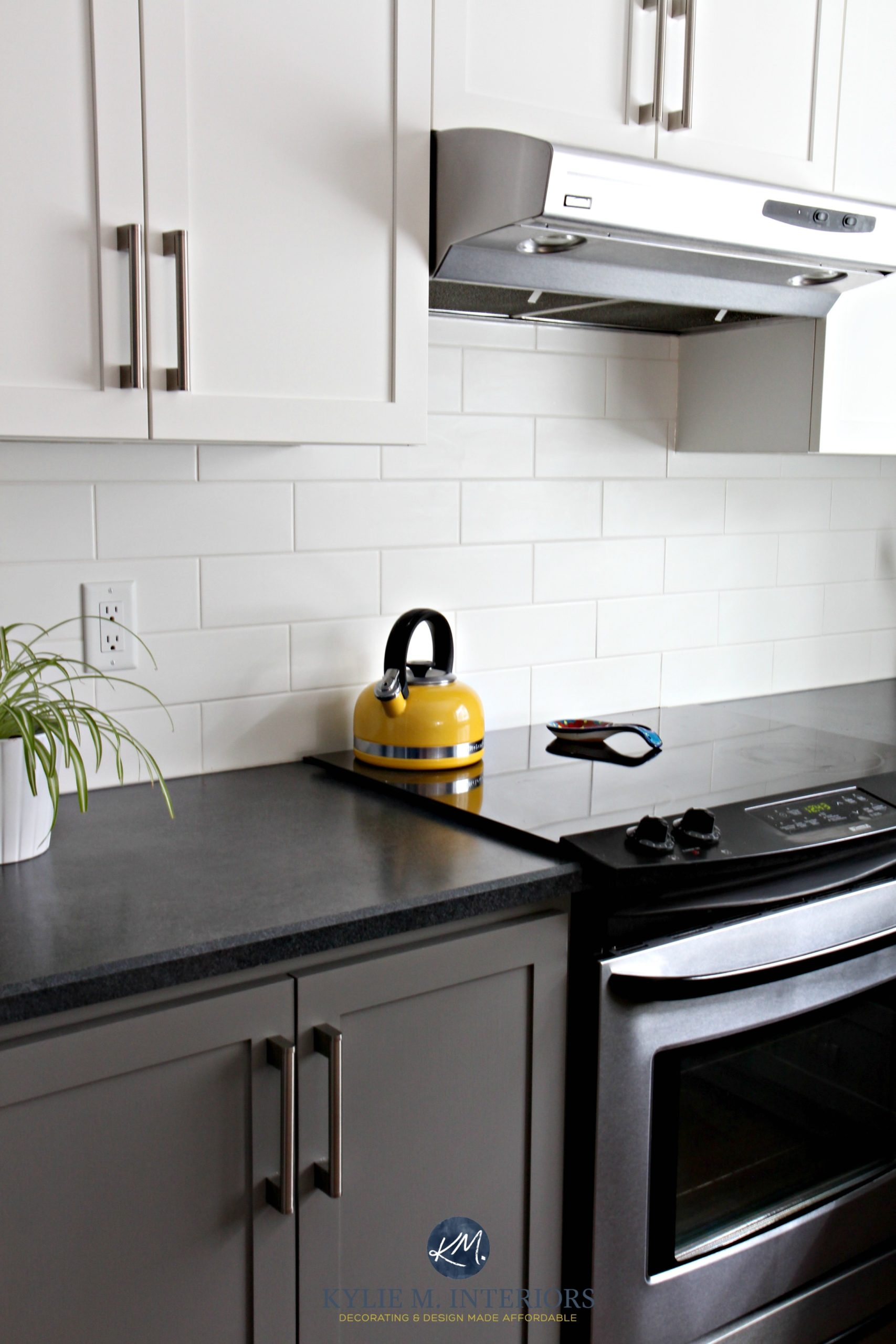 Budget Friendly Kitchen With Painted Cabinets Benjamin Moore Chelsea Gray White Subway Tile And
