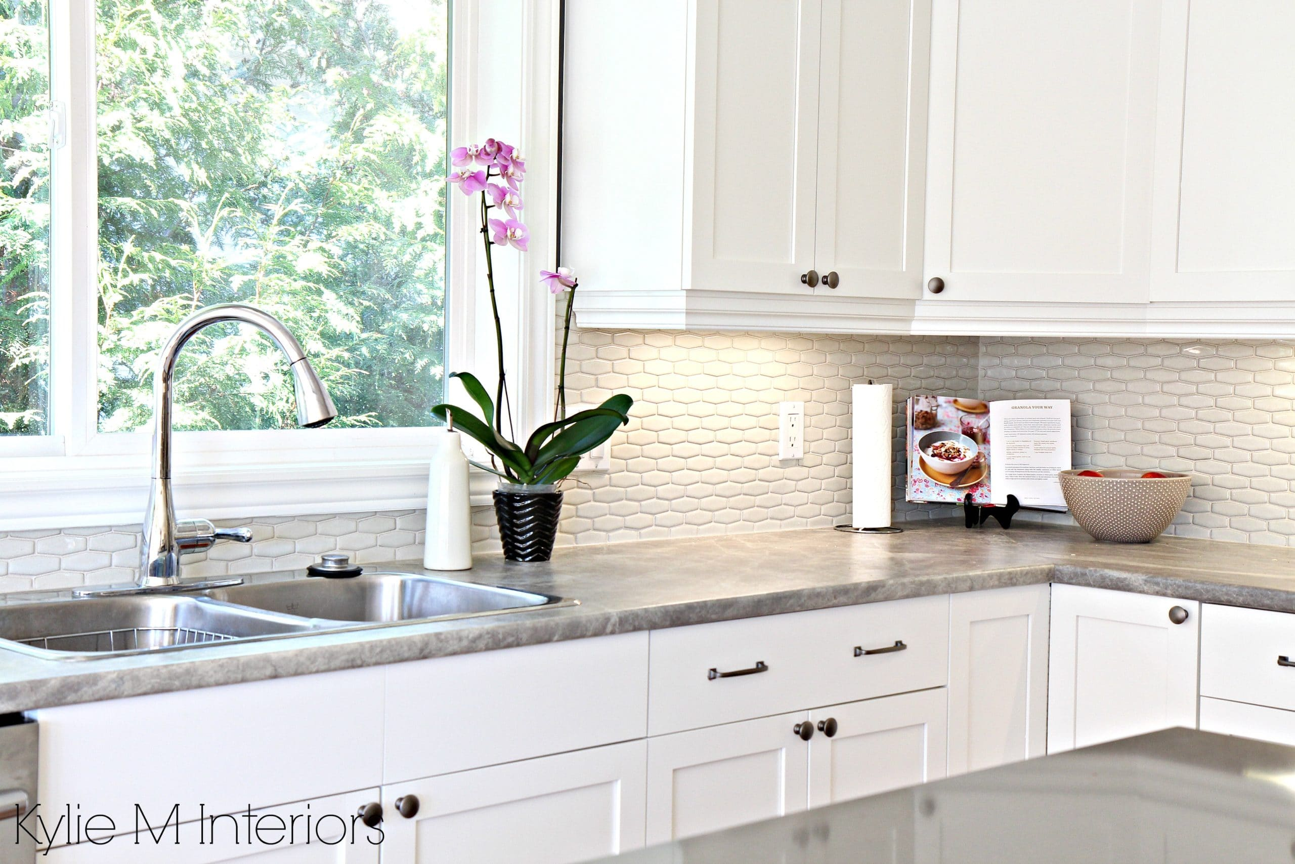 hexagon subway tile backsplash. Maple cabinets painted ... on What Color Countertops Go With Maple Cabinets  id=87437