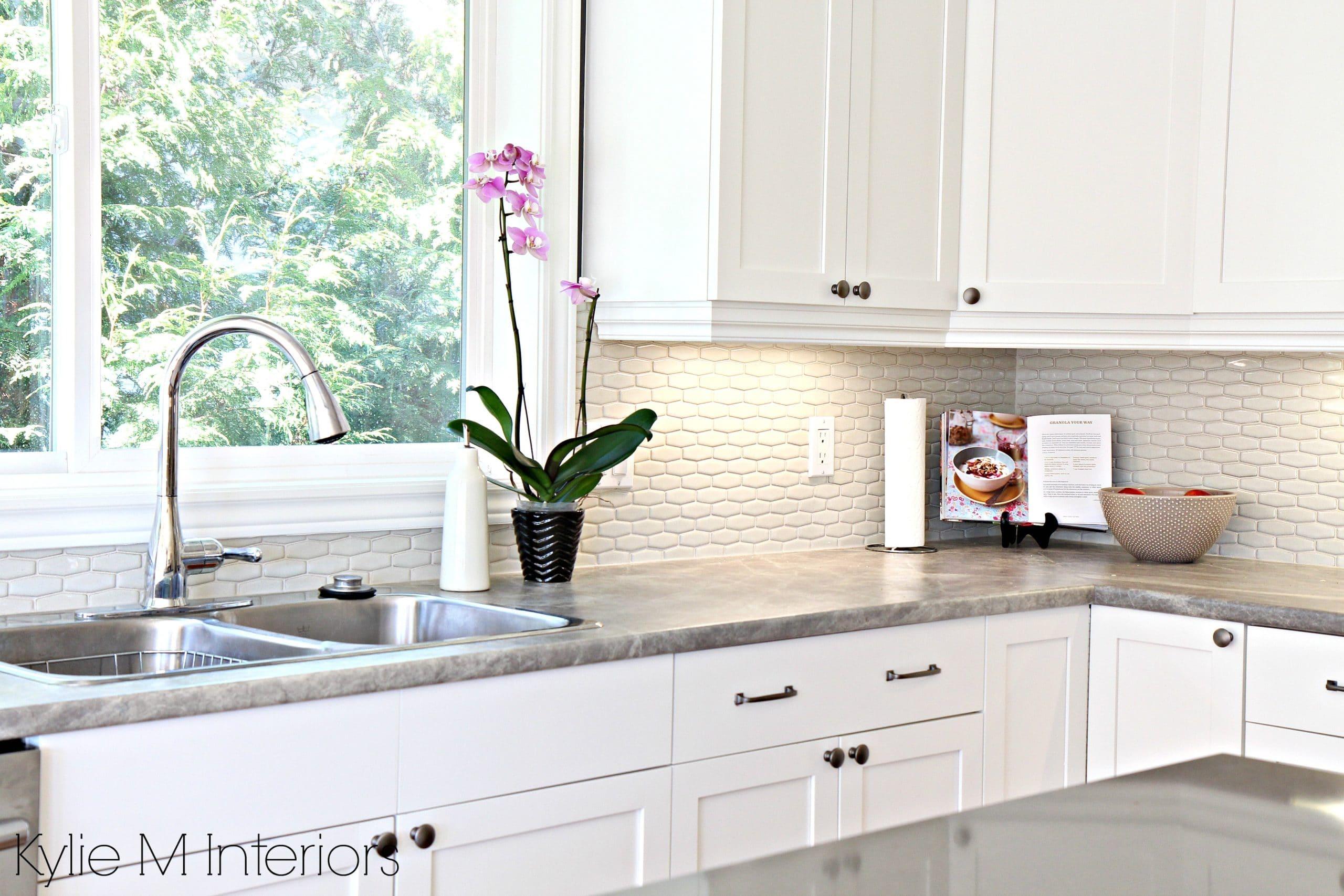 hexagon subway tile backsplash. Maple cabinets painted ... on Backsplash For Maple Cabinets  id=87488