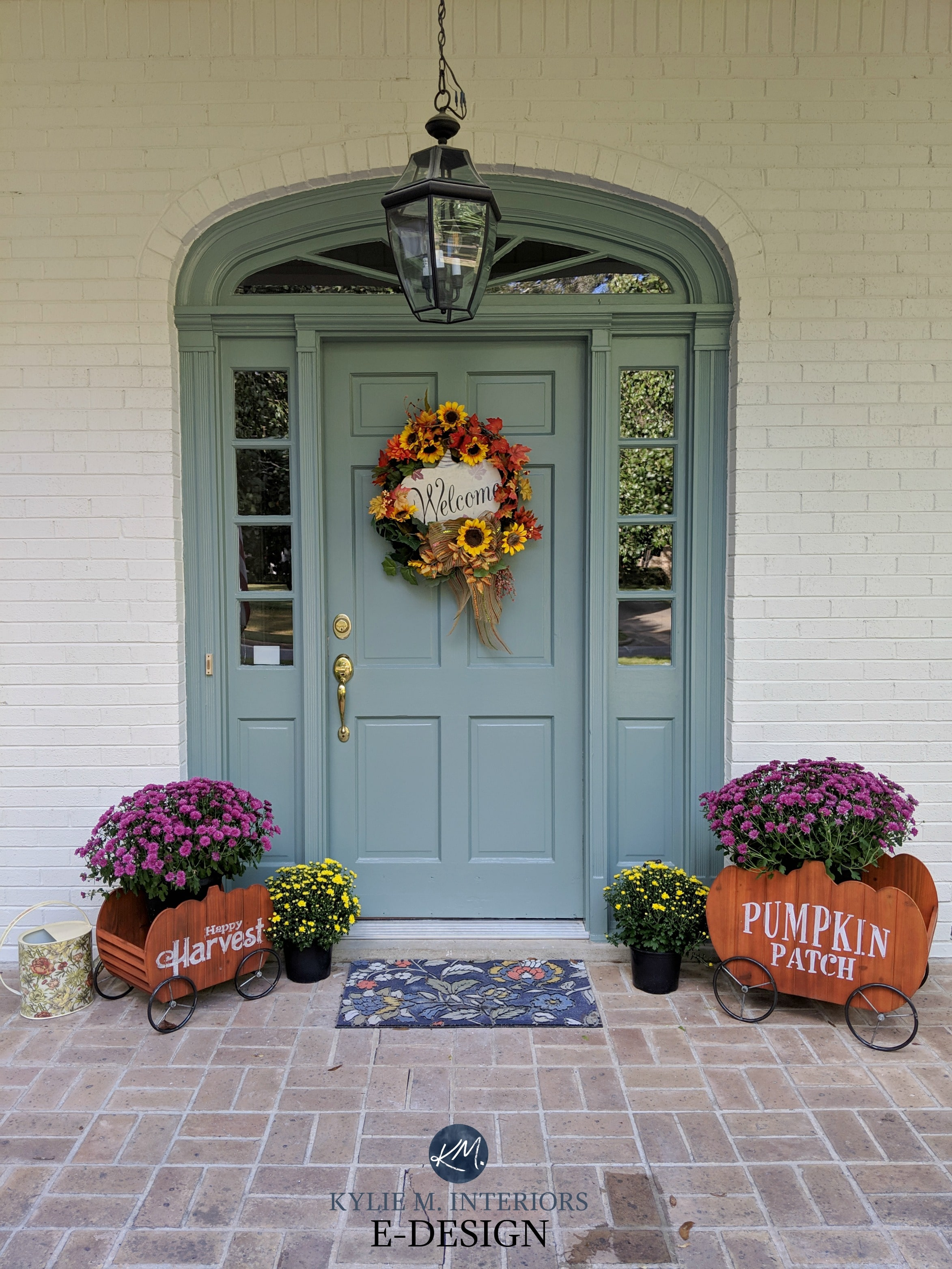 Benjamin Moore Sioux Falls blue green front door, Sherwin ... on Brick House Painting Ideas  id=20909