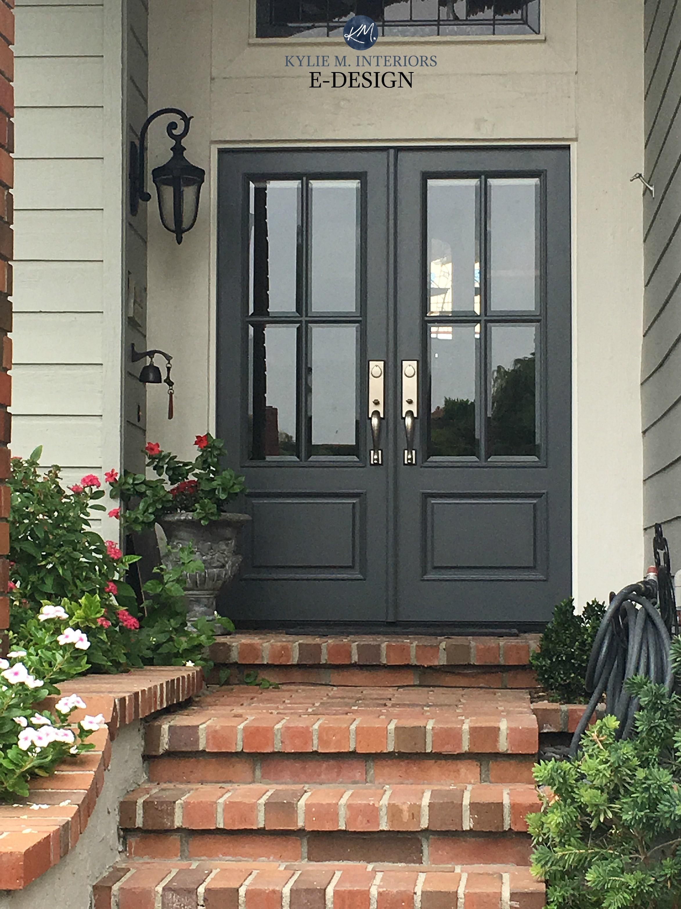 front door benjamin moore charcoal slate red brick stairs on benjamin moore exterior paint colors id=32517