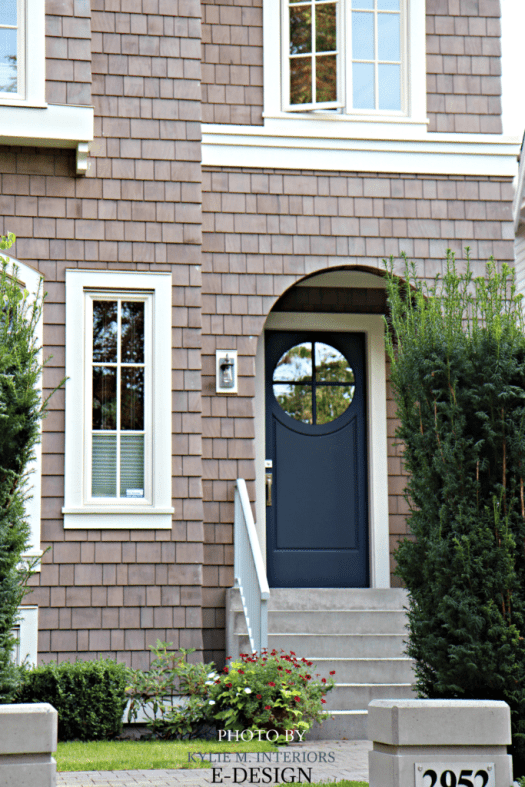 Front Door Similar To Benjamin Moore Hale Navy With Pink Purple Taupe Stained Shingles On