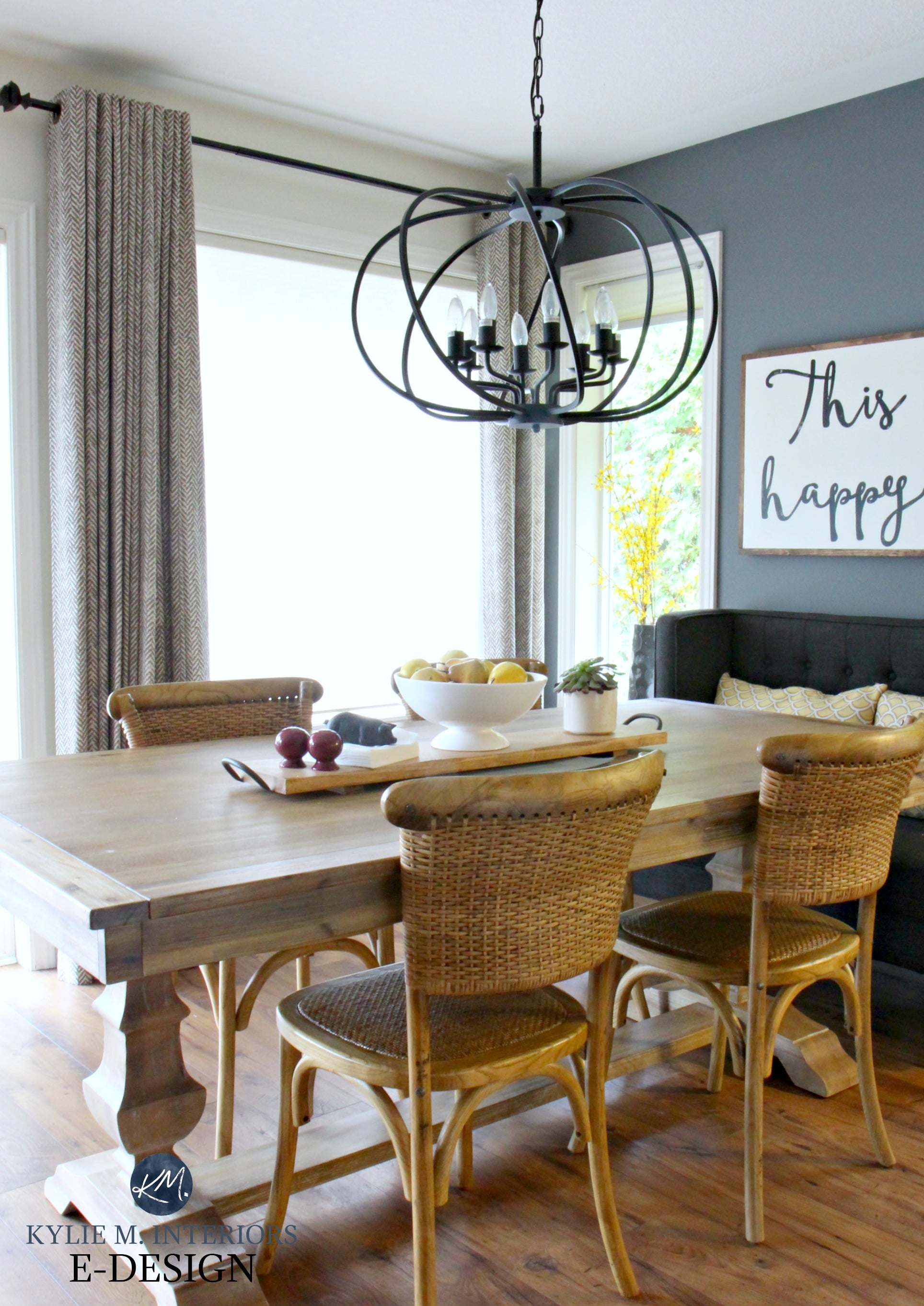 Farmhouse dining table with wicker chairs, chandelier ... on Dining Table Ceiling Design  id=22326