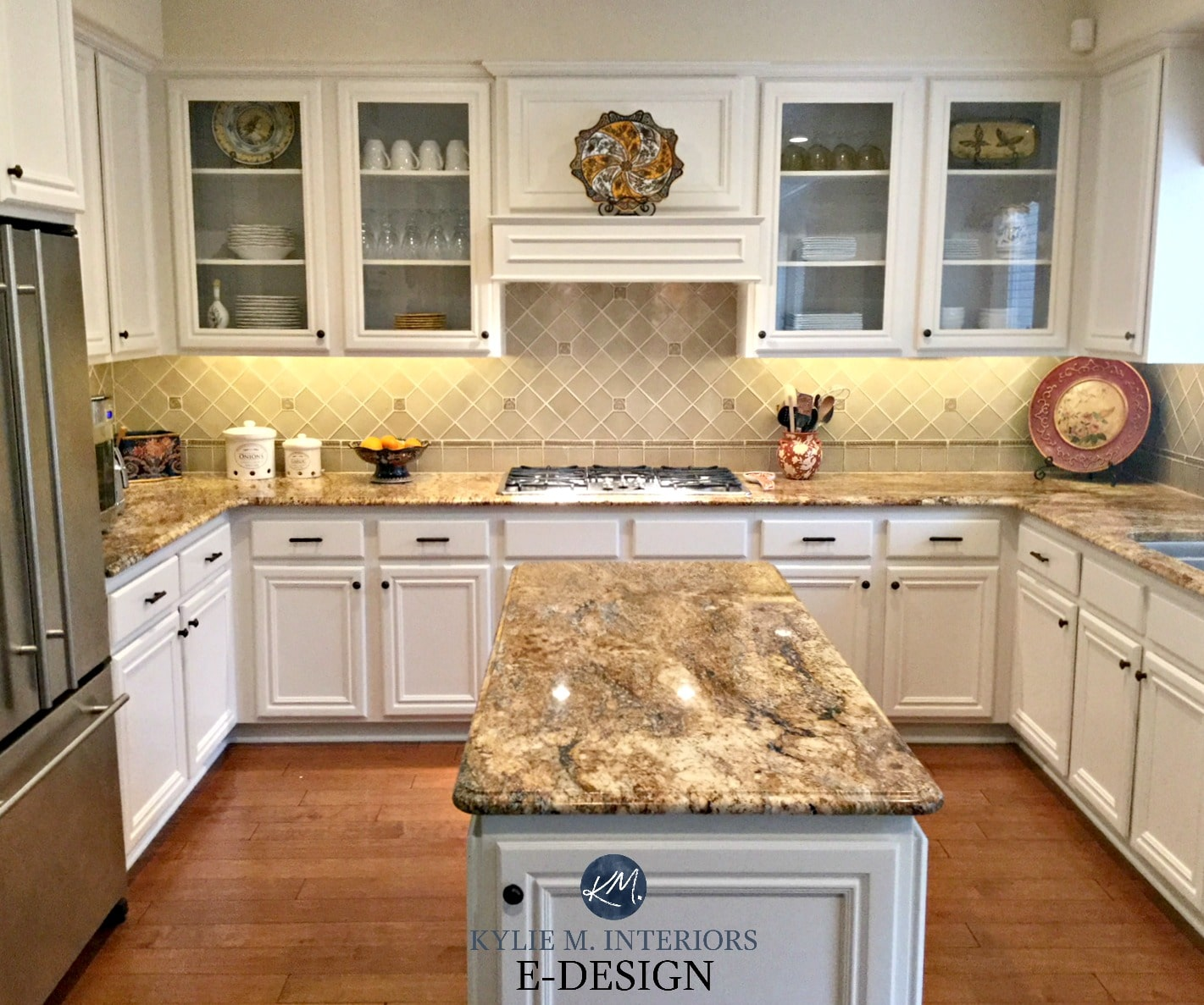 Maple wood kitchen cabinets painted Benjamin Moore White ... on Granite Countertops With Maple Cabinets  id=68667