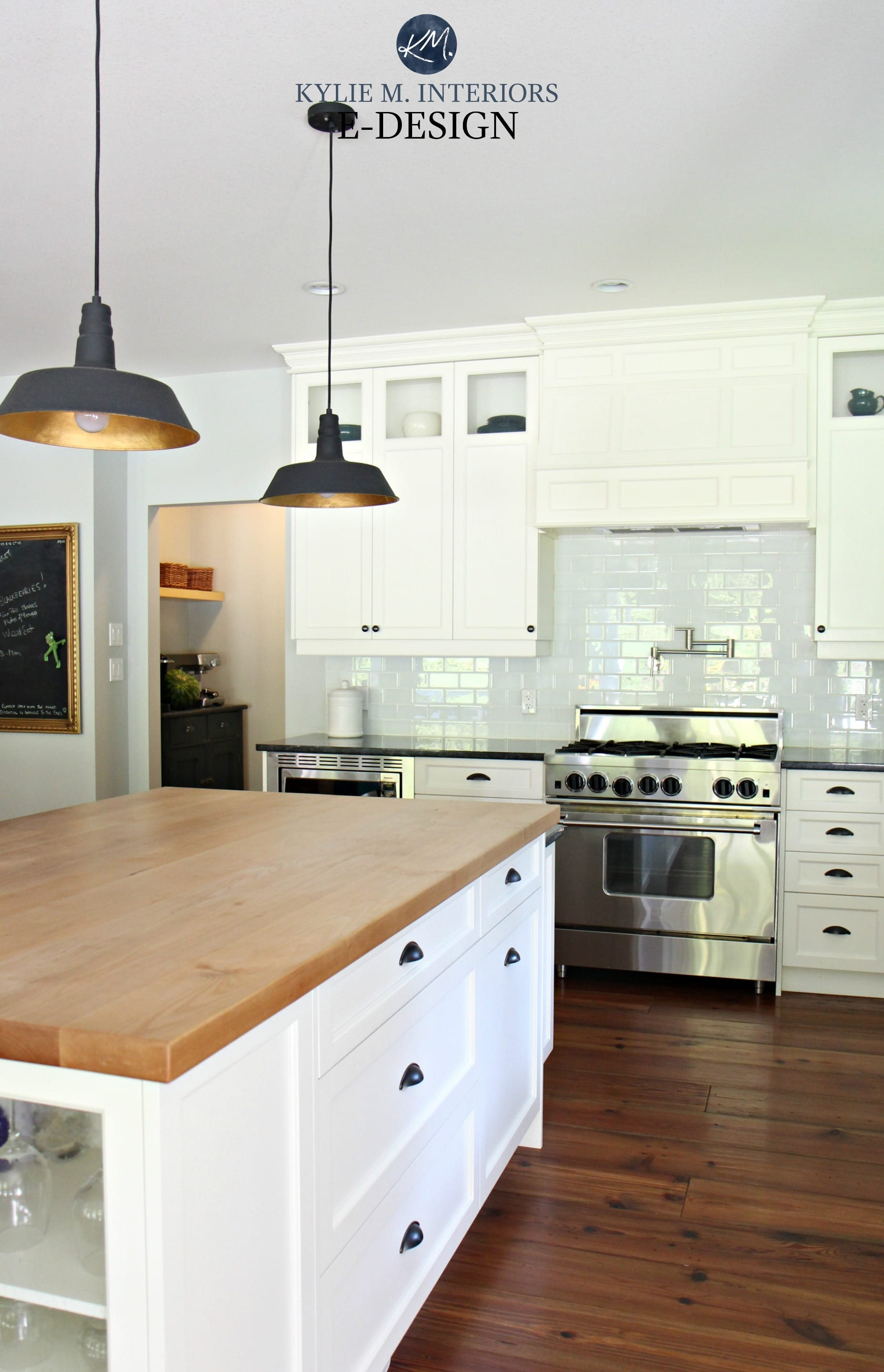 Farmhouse country style kitchen, Cloud White cabinets ... on Farmhouse Granite Countertops  id=37679