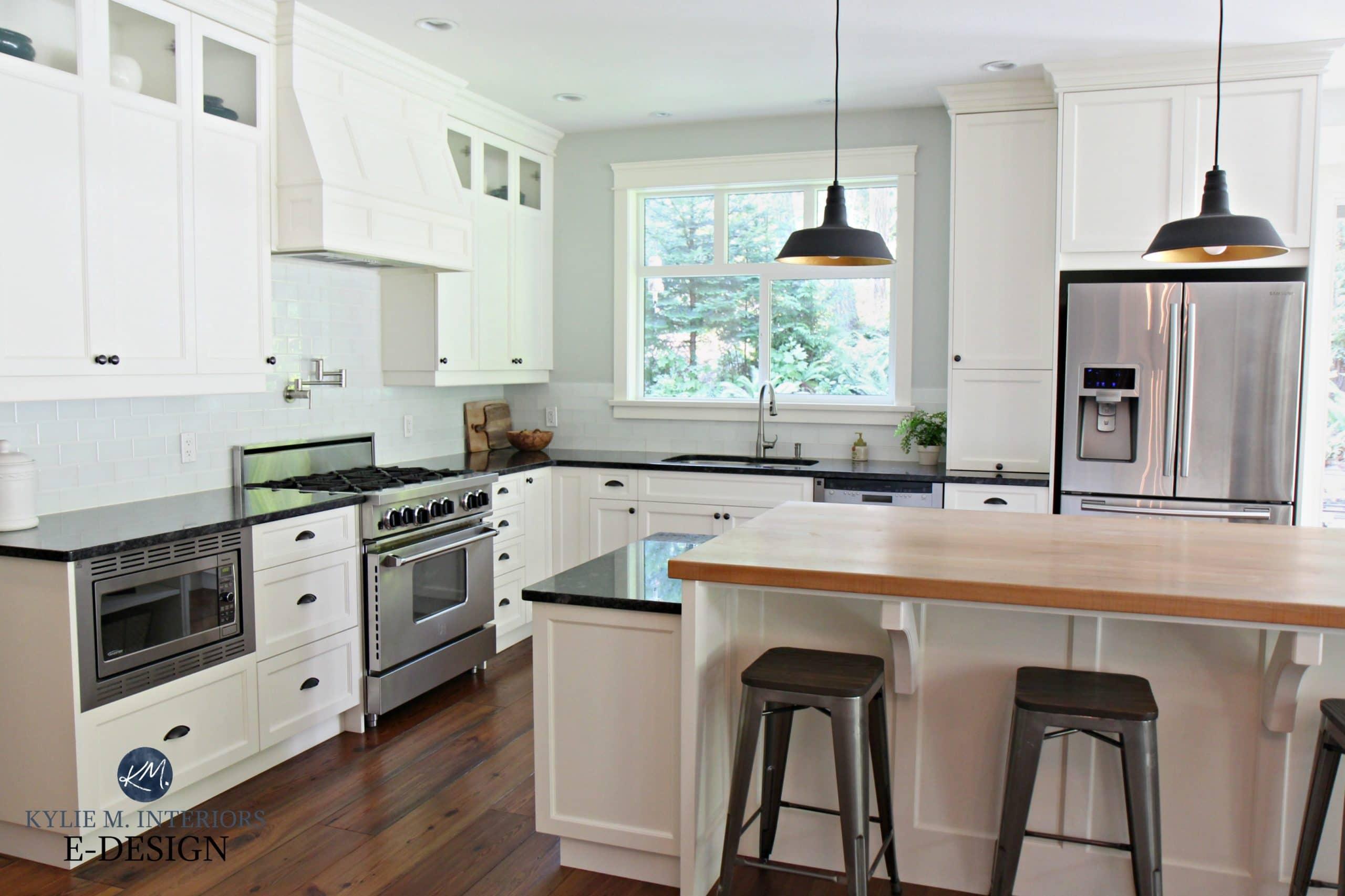 Farmhouse country style kitchen, Cloud White cabinets ... on Kitchen Farmhouse Granite Countertops  id=55174