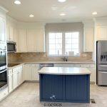 Benjamin Moore White Painted Oak Cabinets Beige Tile Floor