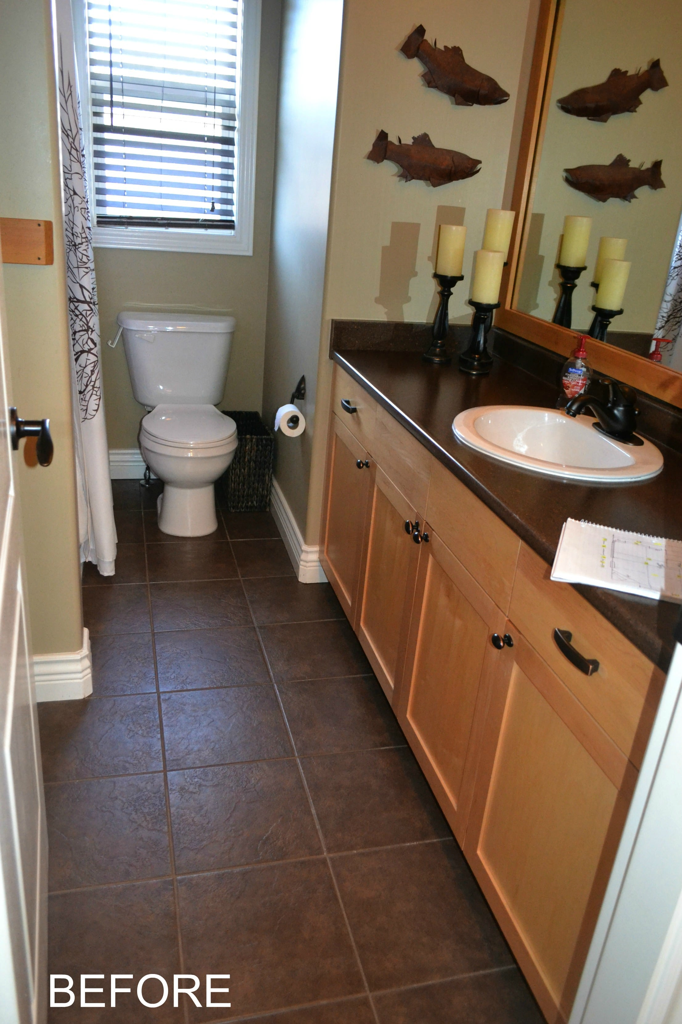 Maple cabinets in bathroom before being updated with paint ... on Bathroom Ideas With Maple Cabinets  id=84037