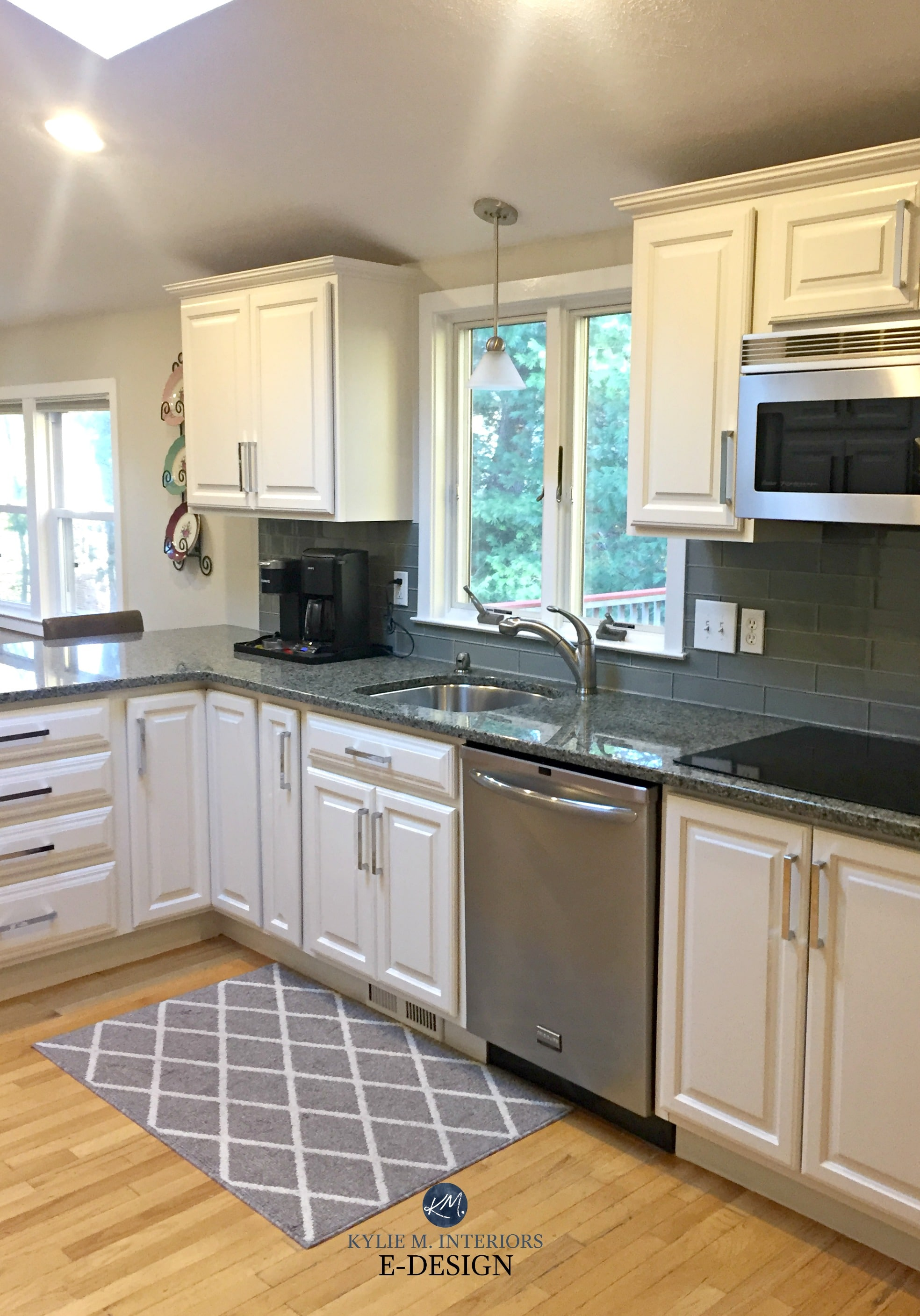 Sherwin Williams White Duck painted maple cabinets and ... on Backsplash For Maple Cabinets And Black Granite  id=36199
