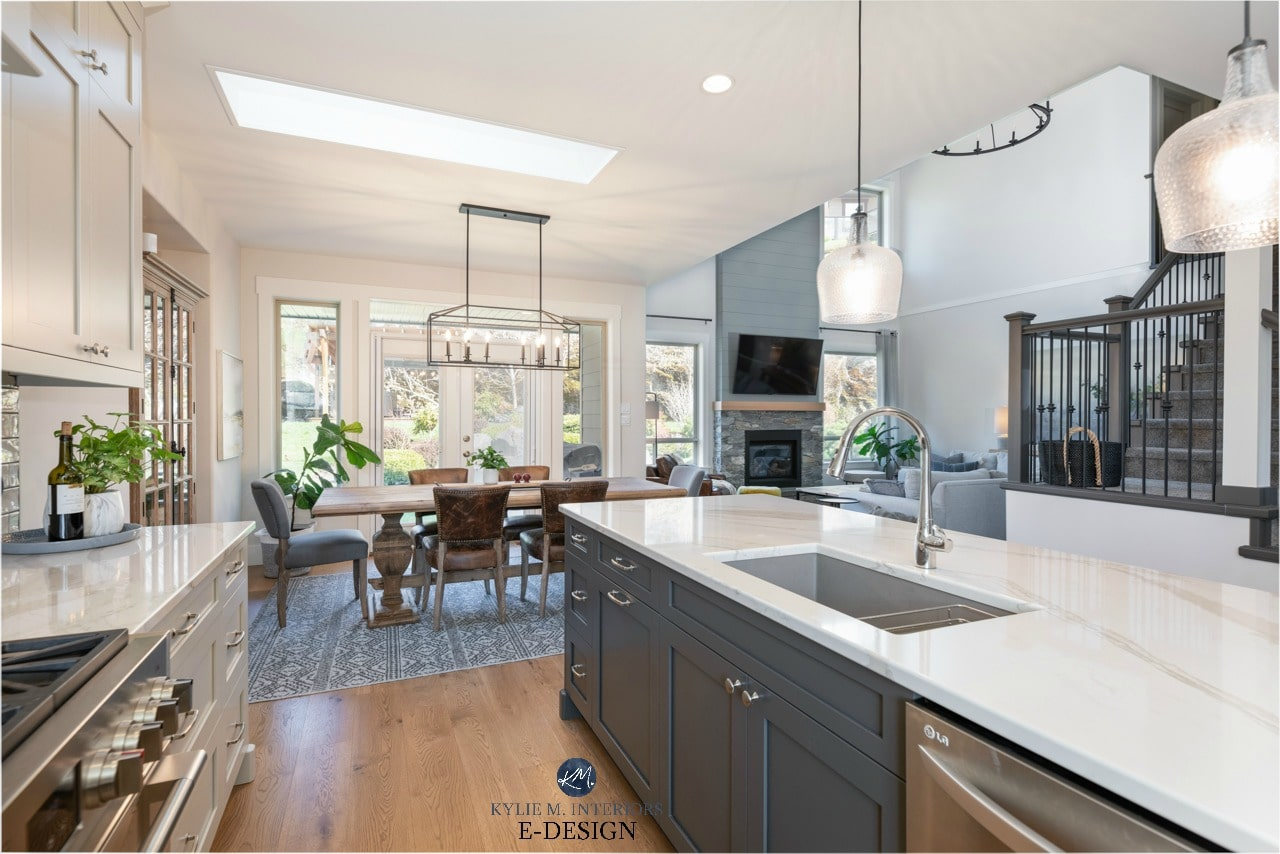 Open Layout Kitchen Dining Room Living Room Warm Grays