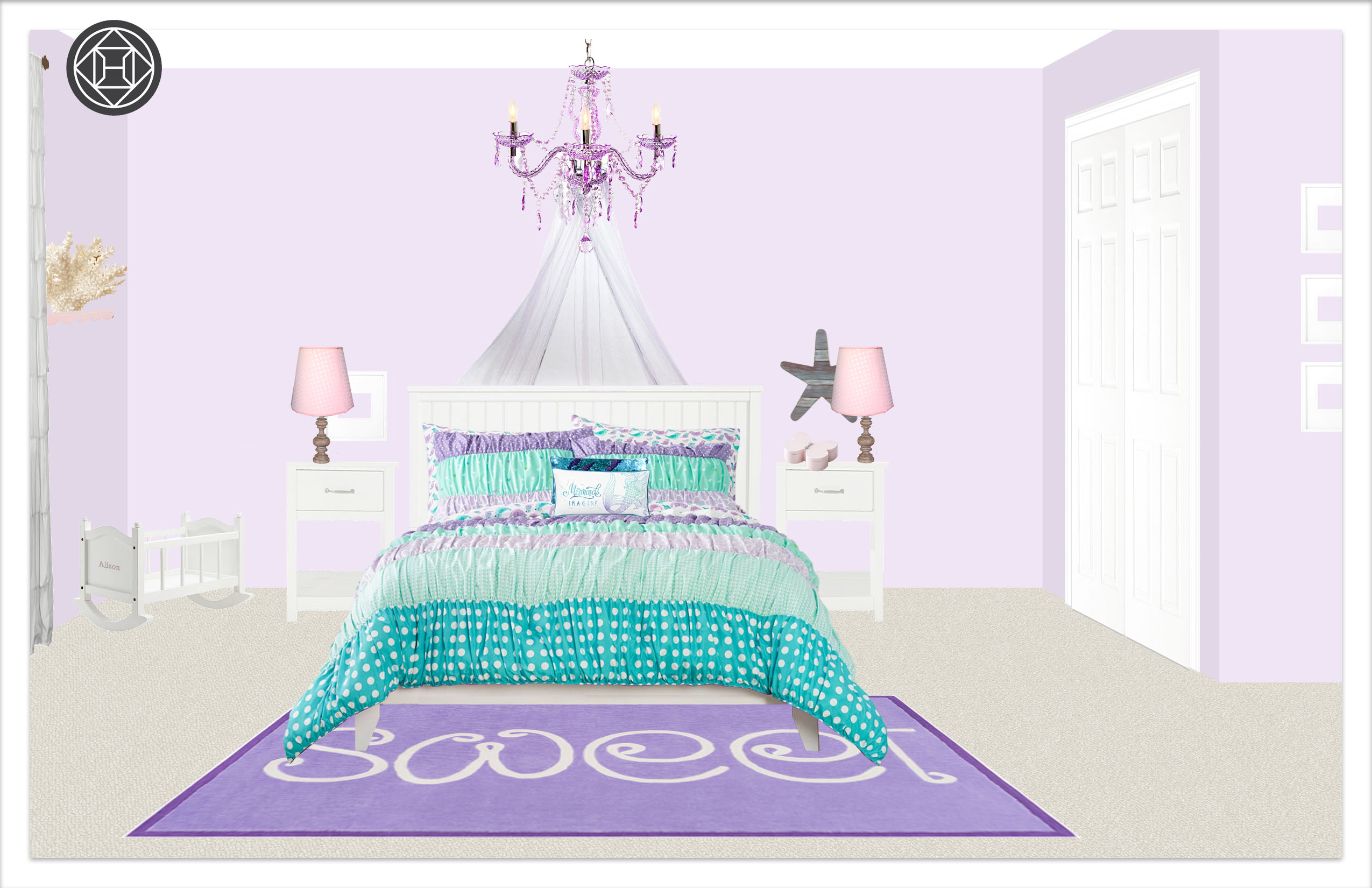 Girls Bedroom 2, Layout 2 alternative paint color 2 Kylie T interiors