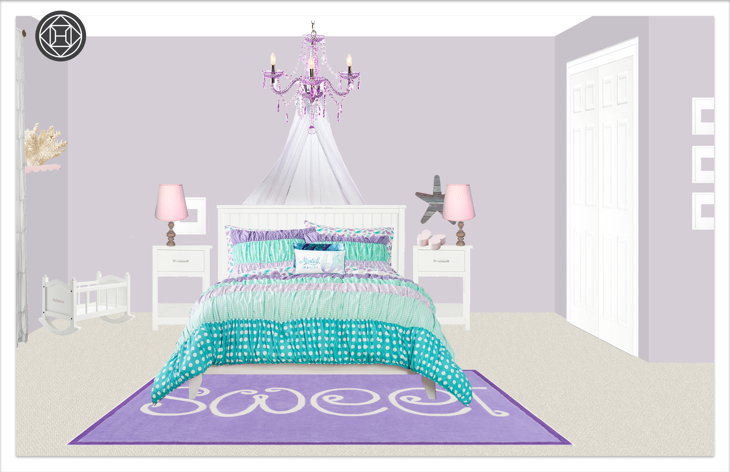 Girls Bedroom 2, Layout 2 alternative paint color Kylie T interiors