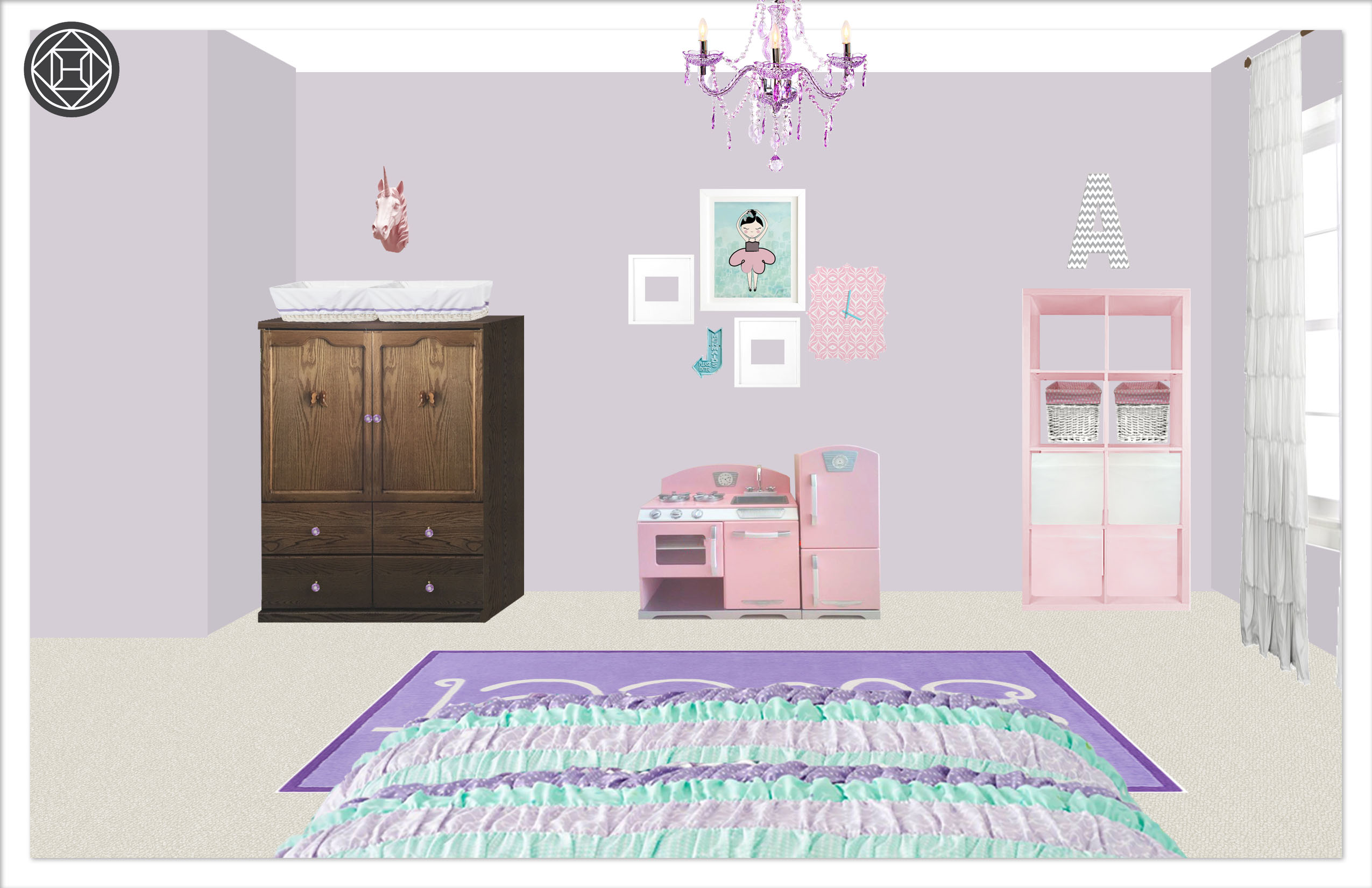 Girls Bedroom 2, Layout 1 alternative paint color Kylie T interiors