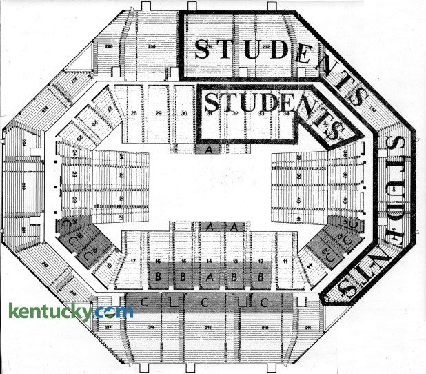 The First Seating Chart For University Of Kentucky Basketball Games When Rupp Arena Opened In