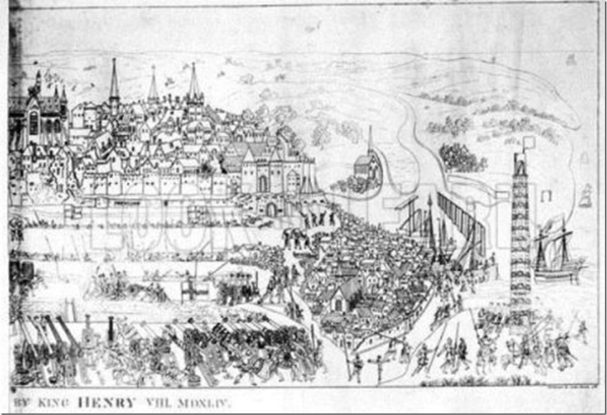 The Siege of Boulogne by King Henry VIII (1491-1547) in 1544, engraved by James Basire, 1788
