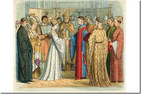 Catherine de Valois marrying Owen Tudor