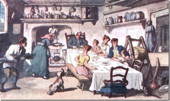vicar-of-wakefield-mr-burches-first-visit-rowlandson regency dinner feast