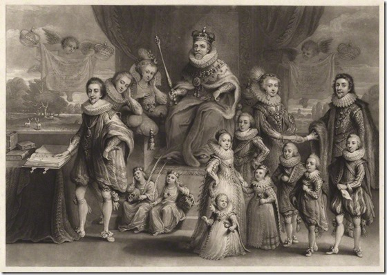 James I and Queen Anne and their royal progeny