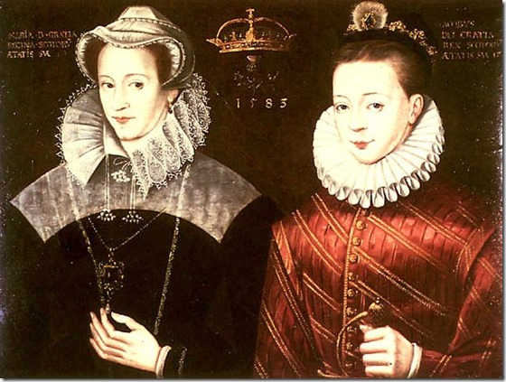 Mary Queen of Scots depicted with her son James VI & I