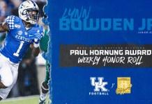 Lynn Bowden Jr. Earns Paul Hornung Award Weekly Honor Roll