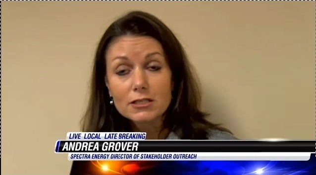 Andrea Grover, Spectra Energy Director of Stakeholder Outreach, in Spectra speaks about Sabal Trail pipeline at Lowndes County Commission, by Robert Hydrick, for WALB TV http://www.walb.com/Category/240202/video-landing-page?clipId=9615509, 9 December 2013