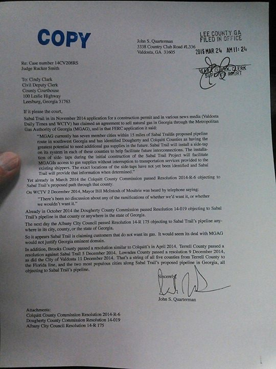 540x720 Letter, in Sabal Trail is claiming customers that do not want its gas, and city and county resolutions are relevant, it seems, by John S. Quarterman, 24 March 2015